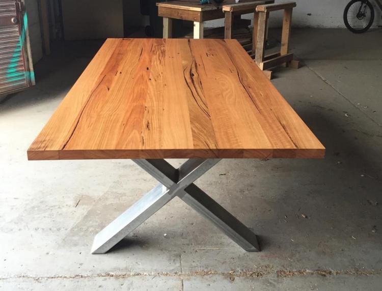 Hatti Dining Table Raw Steel Legs 1