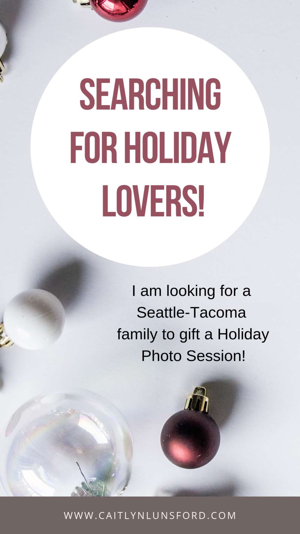 Searching for a family that lives in the Seattle-Tacoma area to gift a portrait session too! Application Deadline - November 9, 2018 - Caitlyn Lunsford Photography