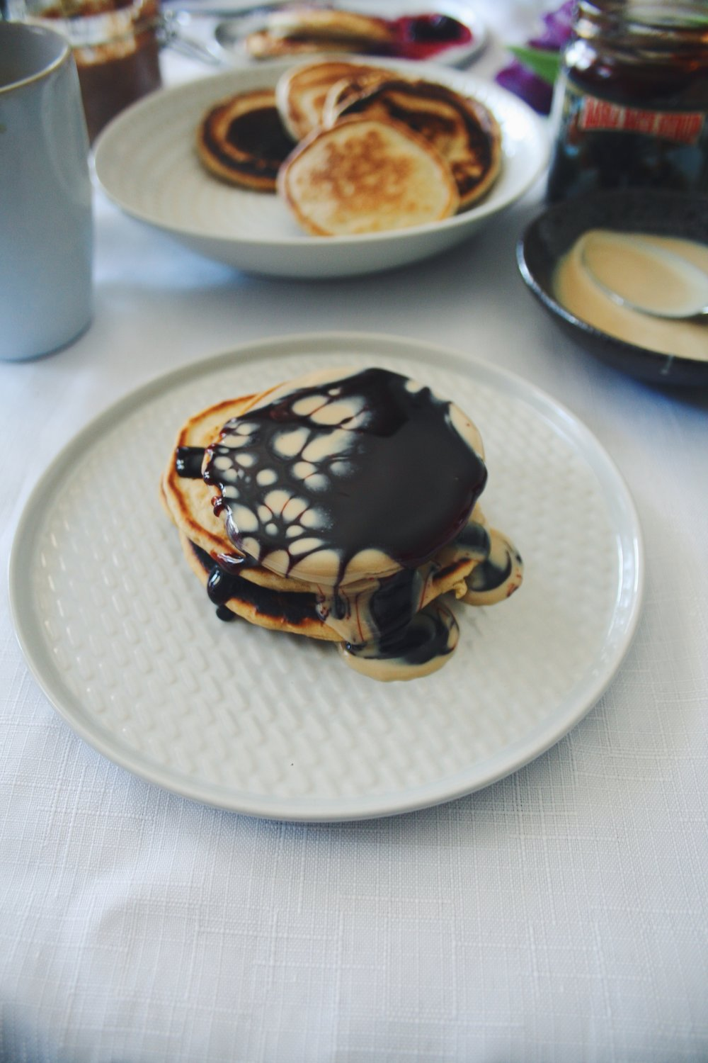 Pancakes drizzled with tahini & date syrup