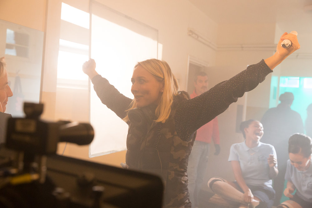 Deborah on set of Still from Pin Cushion