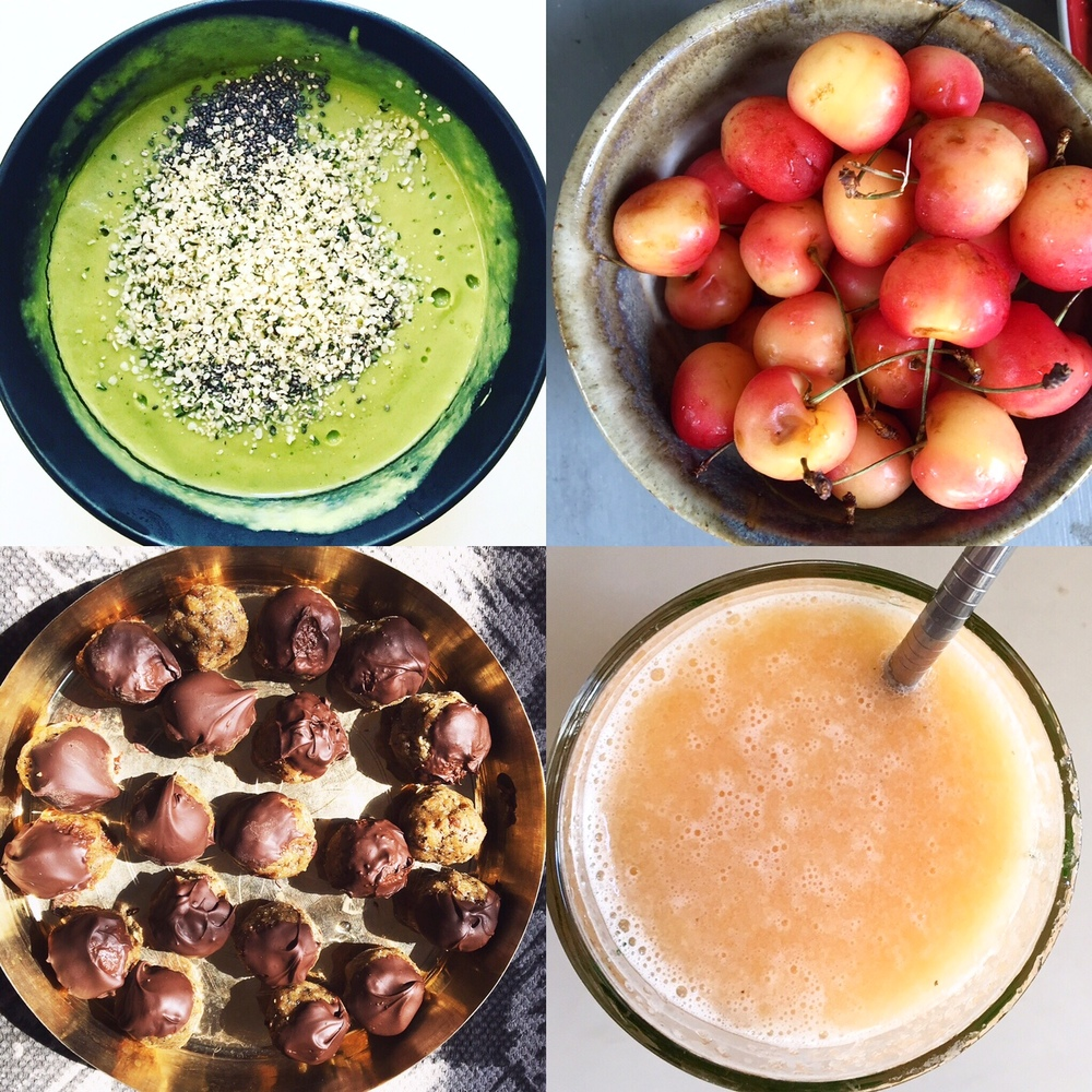 Here are a few of my favorite summer treats so far (green smoothie bowl with chia + hemp hearts, beautiful farmers market cherries, date coconut energy balls, and cantaloupe juice).
