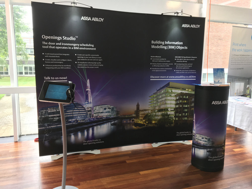 A mobile Assa Abloy stand designed for small events. The design had to showcase two products, be also be flexible enough to be able to show just one or show both products separately.