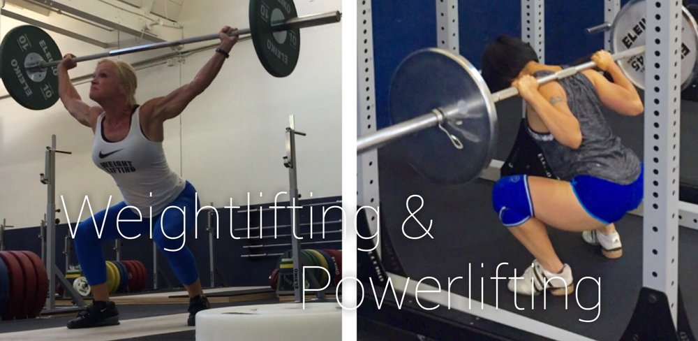 two women weightlifting and powerlifting