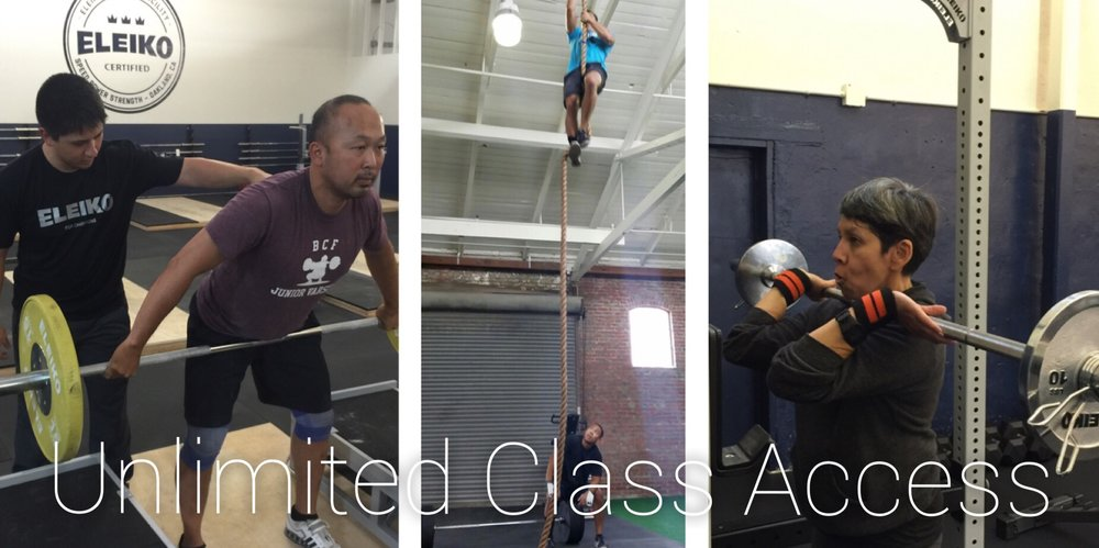 men and women weightlifting and climbing ropes