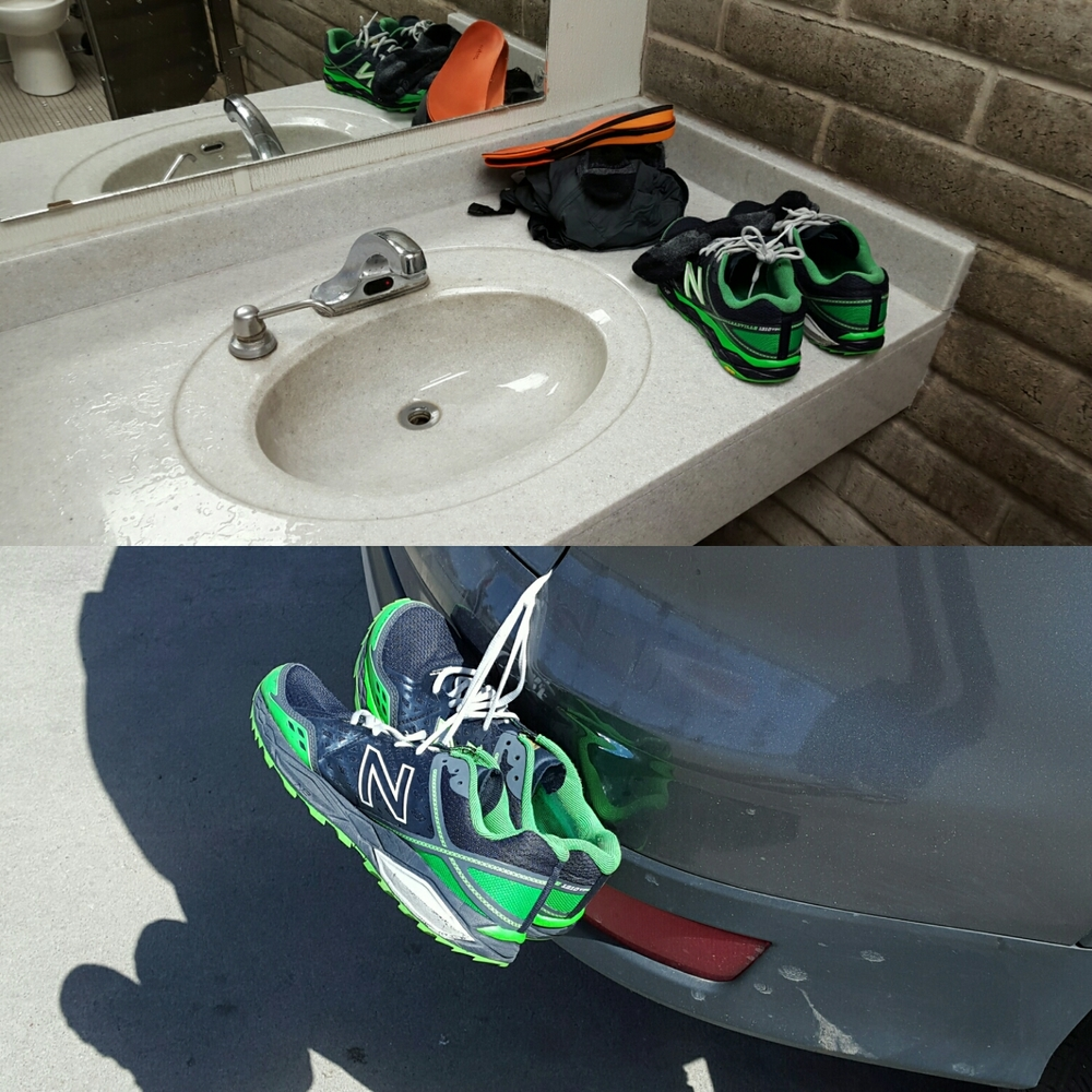 Only one driver flashed their lights and pointed at the shoes.