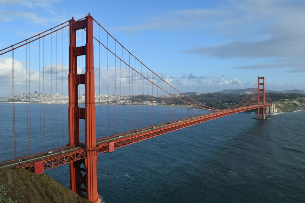 The Golden Gate Bridge from the Marin County side.