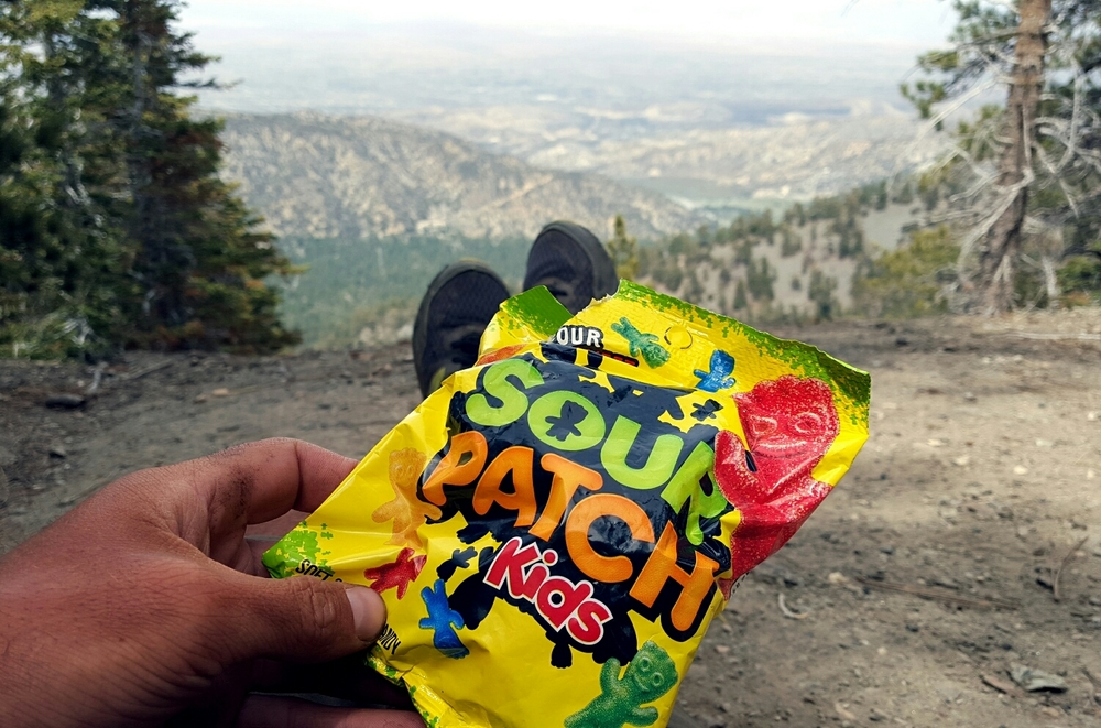 Eating Sour Patch Kids above Wrightwood