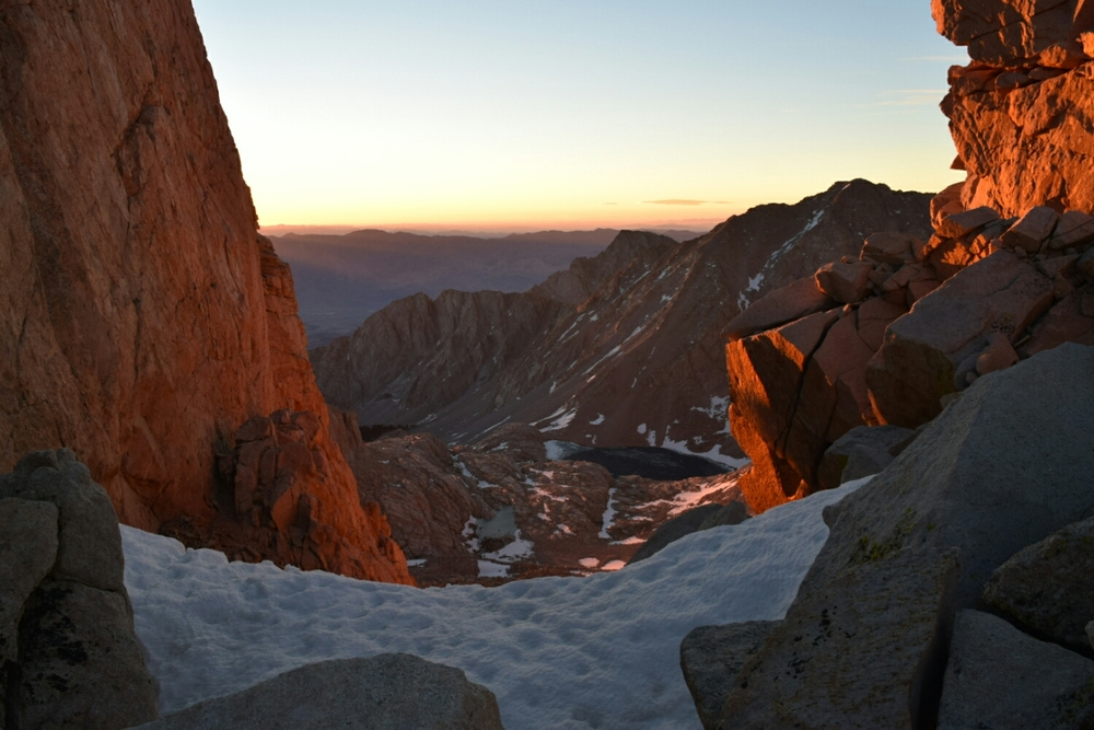 Sunrise on the way to the Mt. Whitney summit