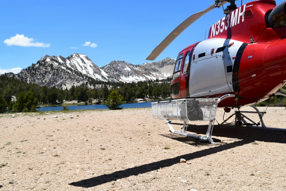 Search and rescue helicopter at Bullfrog Lake