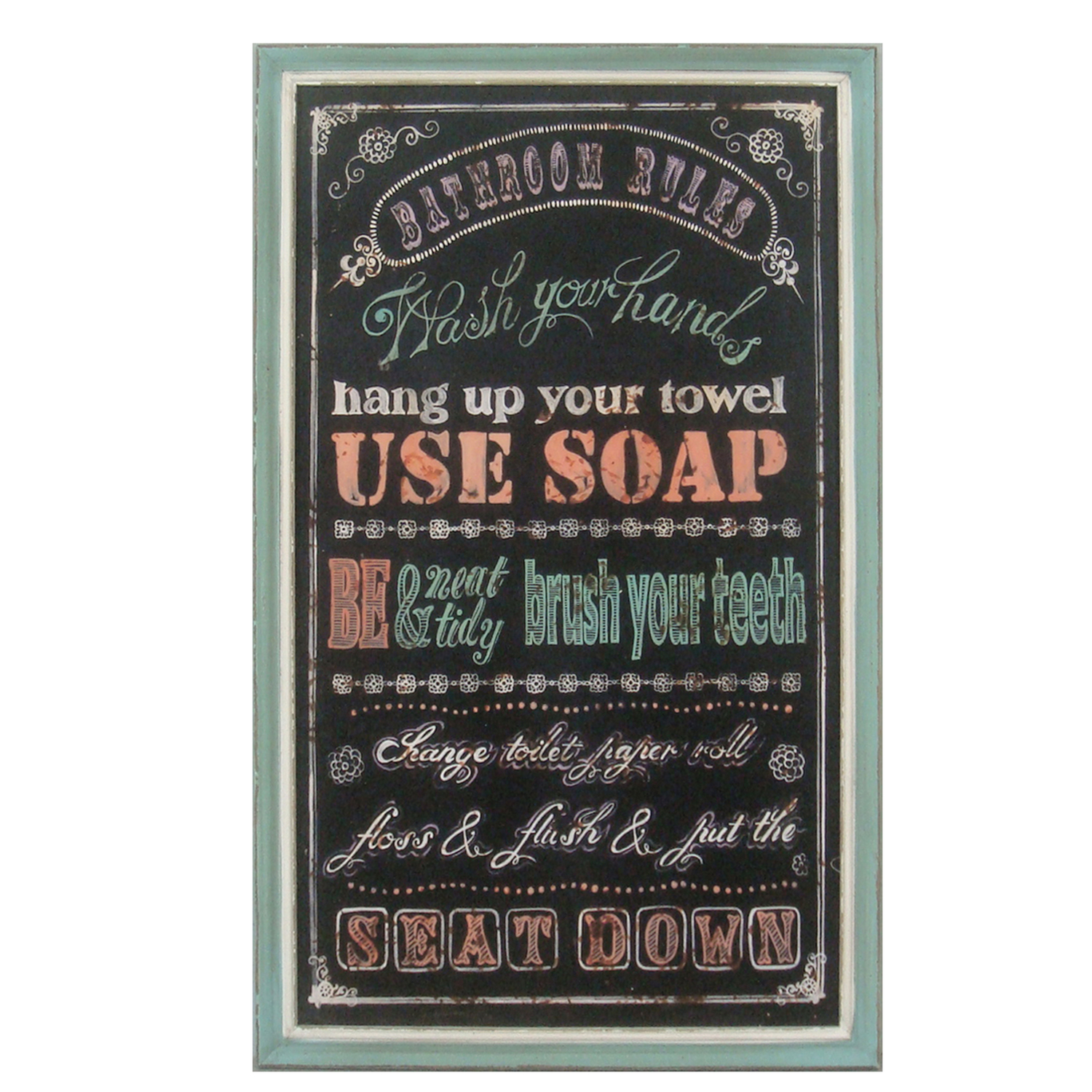 "bathroom rules"" wood sign — byron anthony home"