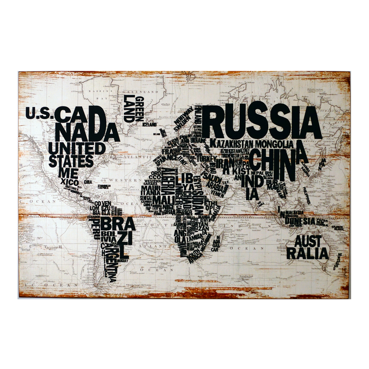 World Map Wall Art Byron Anthony Home - World map for sale