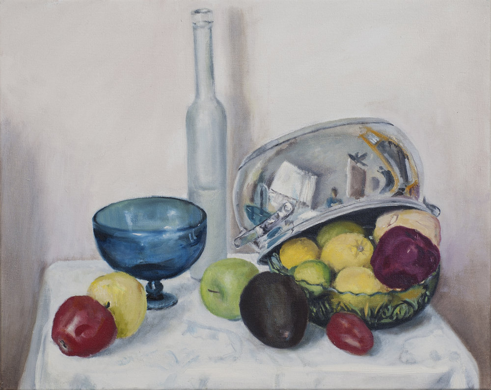 Fruits with cooking pot and glass