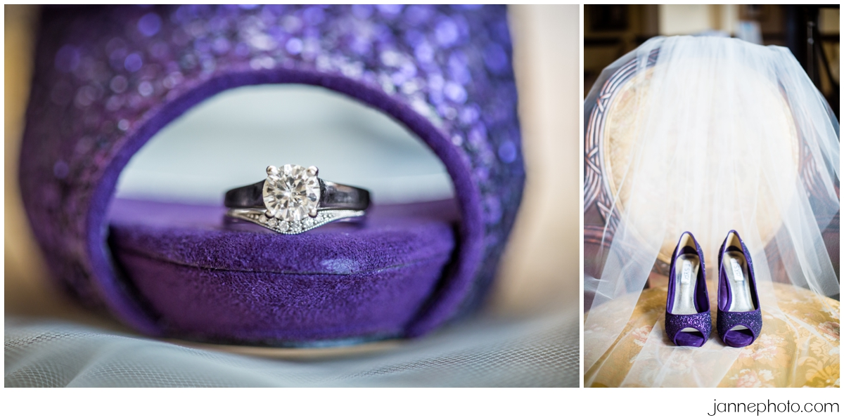 Purple-glitter-shoes-wedding-ring
