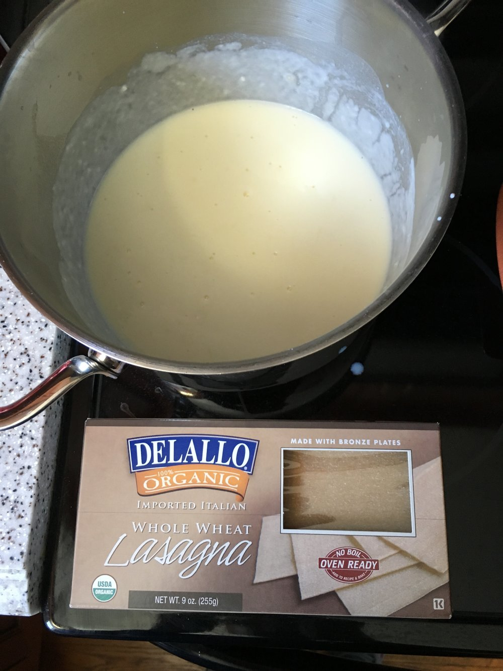 White sauce and the no-boil lasagna sheets I use