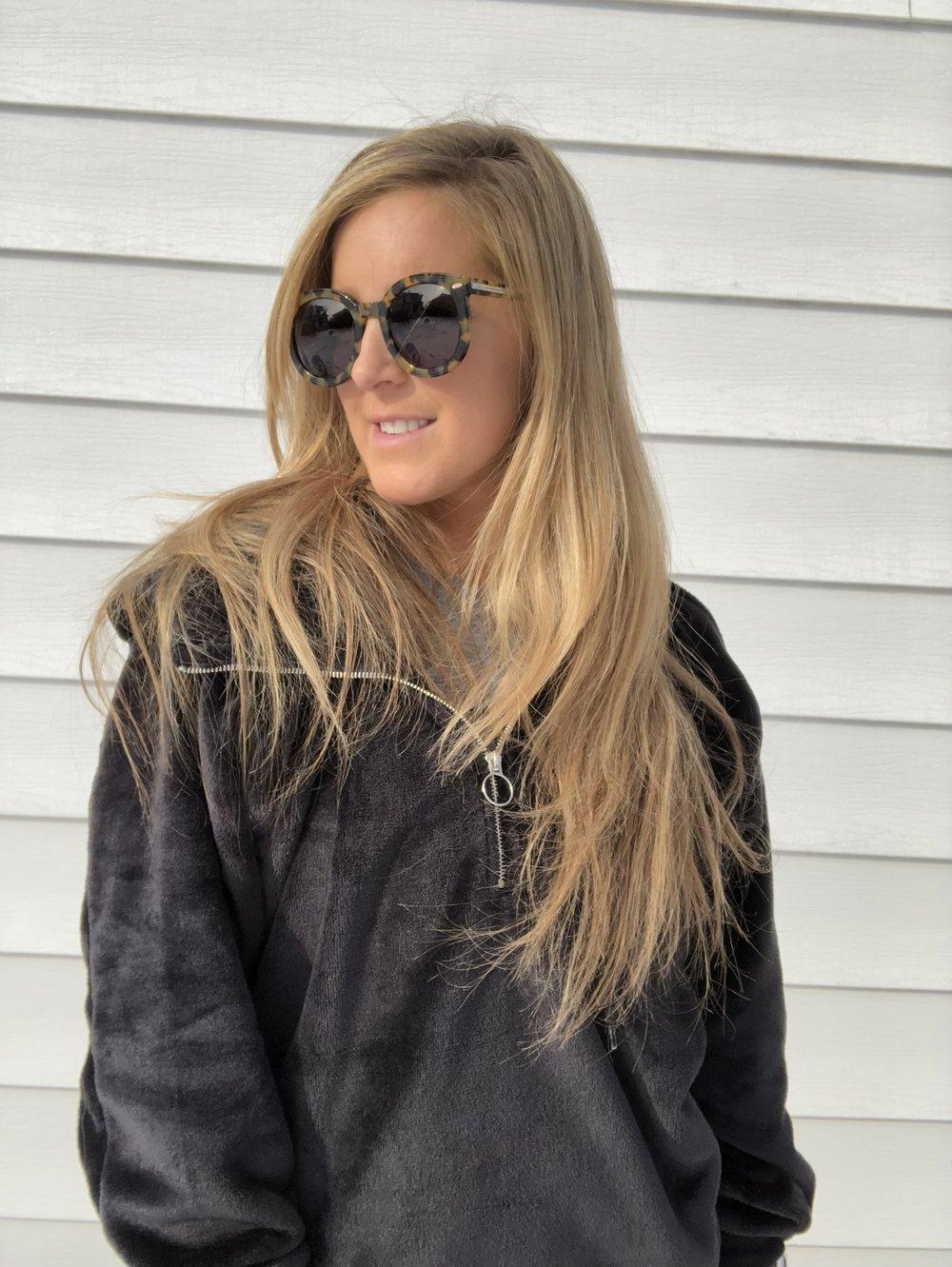 a70125e02118 Karen Walker Super Duper Strength Sunglasses • Karen Walker •  250 ·  Express One Eleven Oversized Velour Hoodie • Express •  50.99