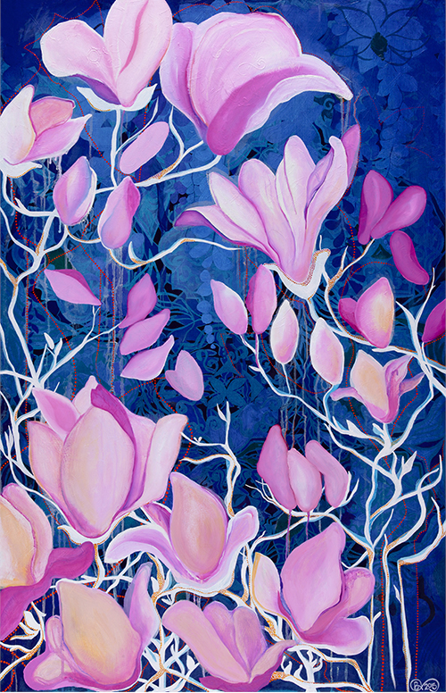 Ancient Magnolia, oil on board, 2016