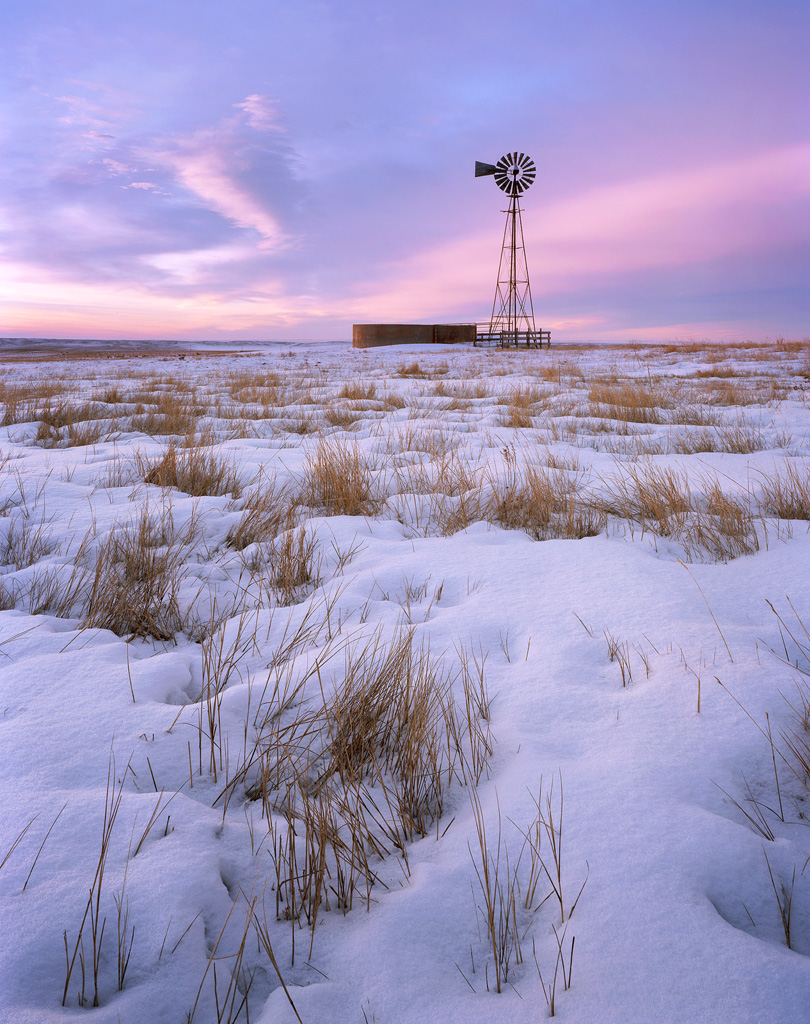 Windmill on the Snowy Prairie