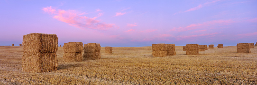 Stacked Bales at Sunrise