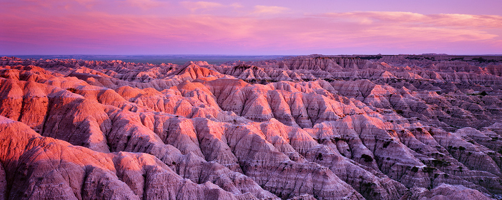 """Last Light on the Badlands"" - Velvia 100 example showing the strong magenta cast in the shadows."