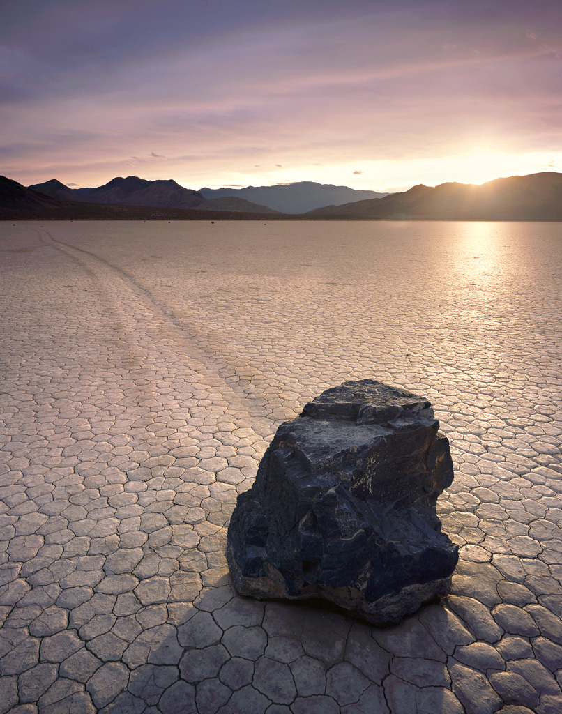 """Last Light on the Racetrack"" – The mystical racetrack playa, where sailing stones move about on their own.  Prints available."