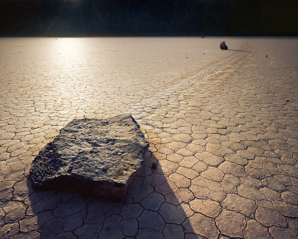 """Out of the Black"" – Sailing stones on the Racetrack.  Prints available."