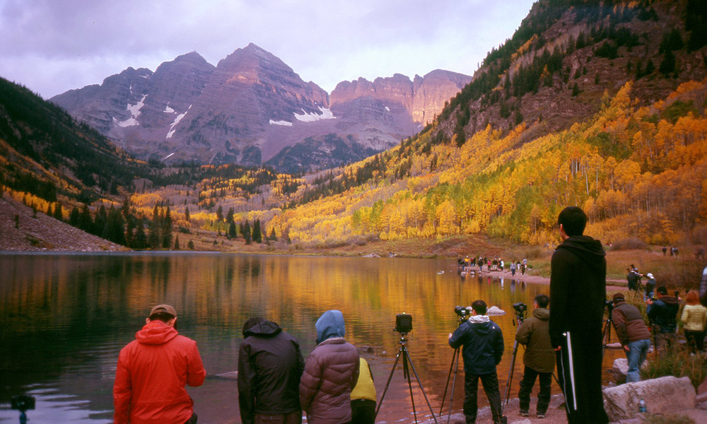 Hoards of Photographers at Maroon Bells