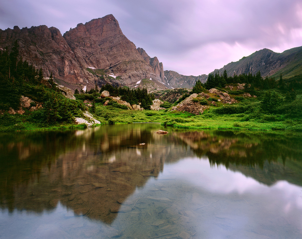 Crestone Needle reflects in twilight hues.  A view you'll likely only see if you're backpacking.