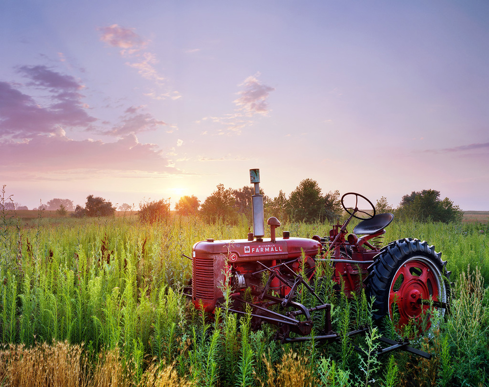 """Farmall"" - Shot on Ektar 100 4x5 with a 90mm Lens.  2 seconds at f32 with a 3 stop reverse GND filter"