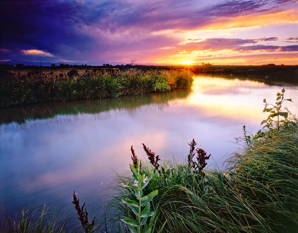 """Irrigation Ditch Sunset"" - Velvia 50 4x5, 75mm Lens - 4 seconds at f32, 2 stop hard and 2 stop soft GND filters."