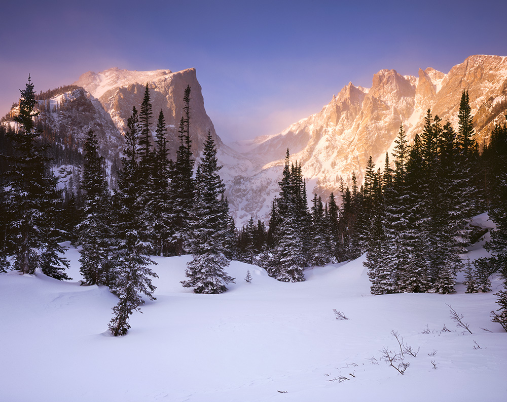 """Hallet Alpenglow"" - Provia 100f 4x5, 135mm lens.  1/8th second at f32, 2 stop soft GND and warming filter."