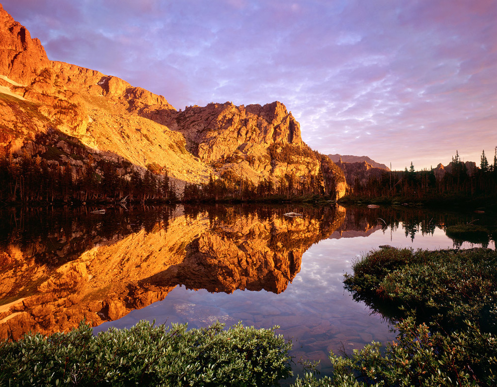 """Lake Helene Sunrise"" - Velvia 50 4x5, 75mm lens.  4 seconds at f22, 2 stop soft GND filter.  A classic reflection scene."