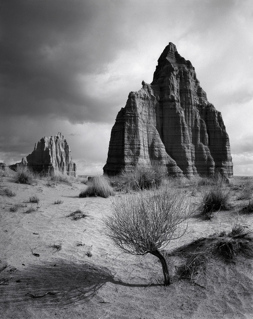 """Enchanted Temples"" - Storms over the Temples of the Sun and Moon create a moody black and white scene in Utah's Capitol Reef National Park.  Handmade black and white prints available."