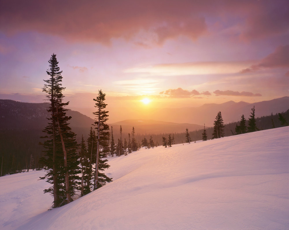 """Winter's Warm Glow"" - Snow falls lightly at sunrise on my favorite mountain slope, creating a warm glow from the rising sun before the storm moved in and started a blizzard.  Prints Available."