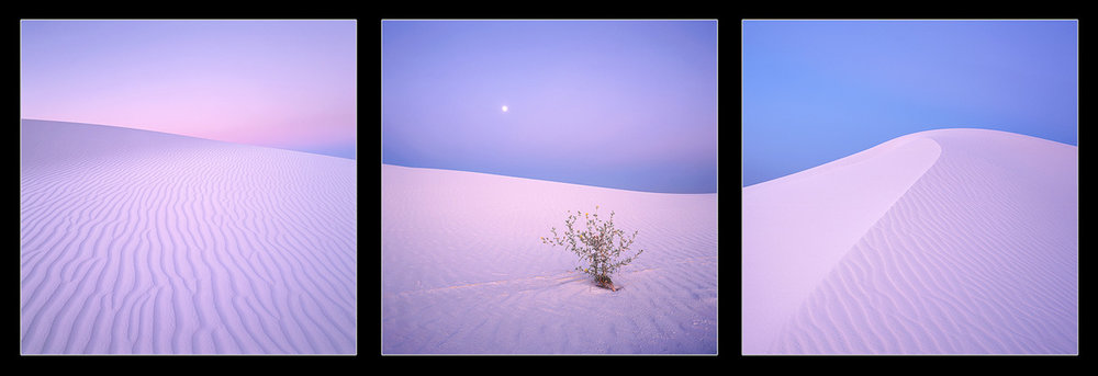"""Twilight Dunes"" - A set of three images taken from different days at twilight show the magic of White Sands, New Mexico."