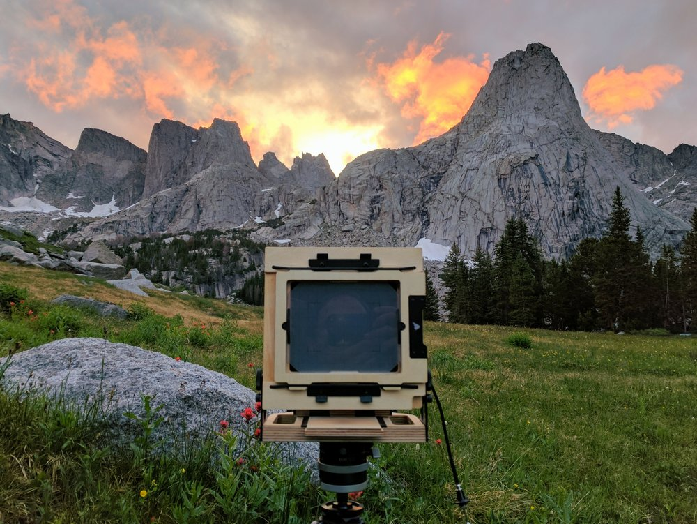 The Intrepid 4x5 Camera in the Cirque of the Towers, complete with my reflection in the ground glass.