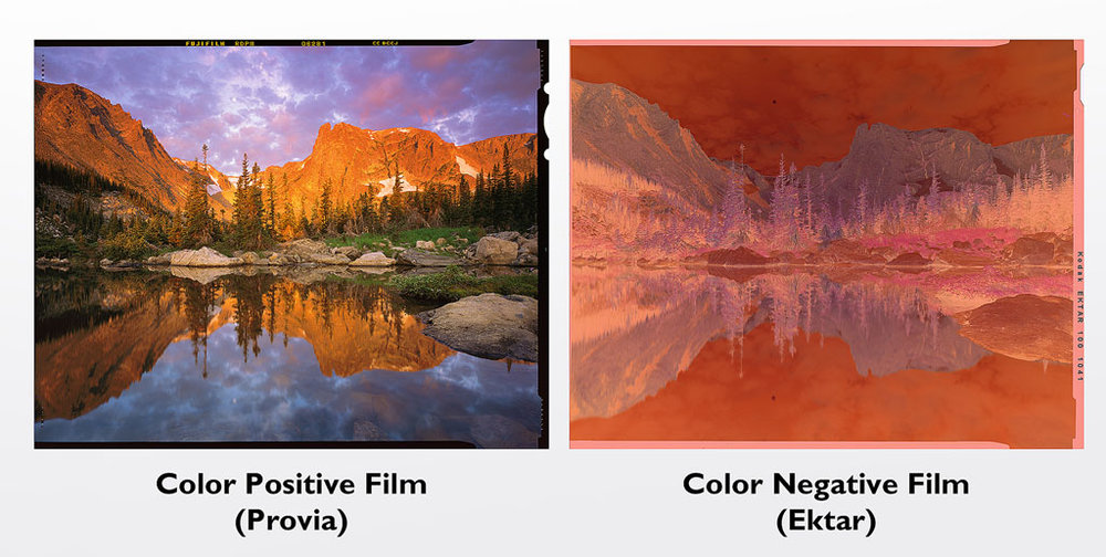 Comparison of color positive (left) and color negative film (right).