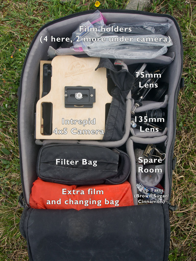 The layout of all the camera equipment inside my backpacking bag.  This is an X-Large f-stop ICU but a large would also likely work well.