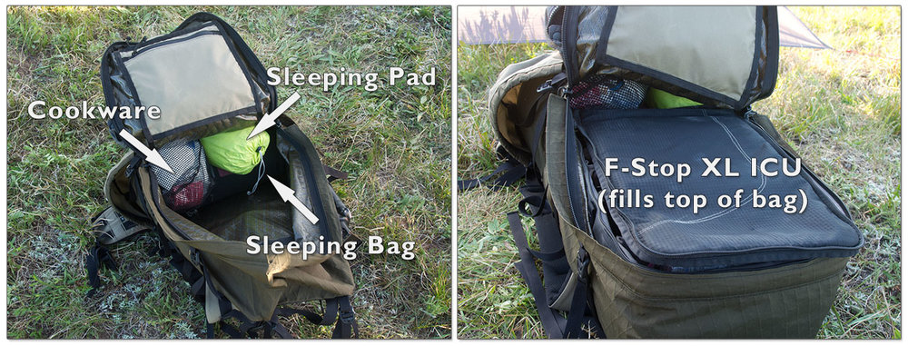 My backpacking bag before and after inserting the camera stuff.  Plenty of room in there.