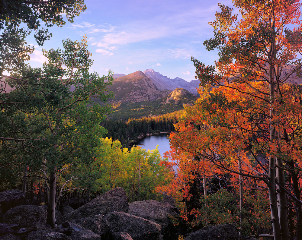 """Bear Lake Sunrise"" - Intrepid mk3 4x5, 75mm lens and Fuji Velvia 50. The mk3 version can still take a 75mm lens without a recessed board, but it requires some very exact placement of the rear swing slots. Too far back and the lens can't focus, too far forward and the rotation of the film back hits the camera body. There is an exact spot that still works perfectly."