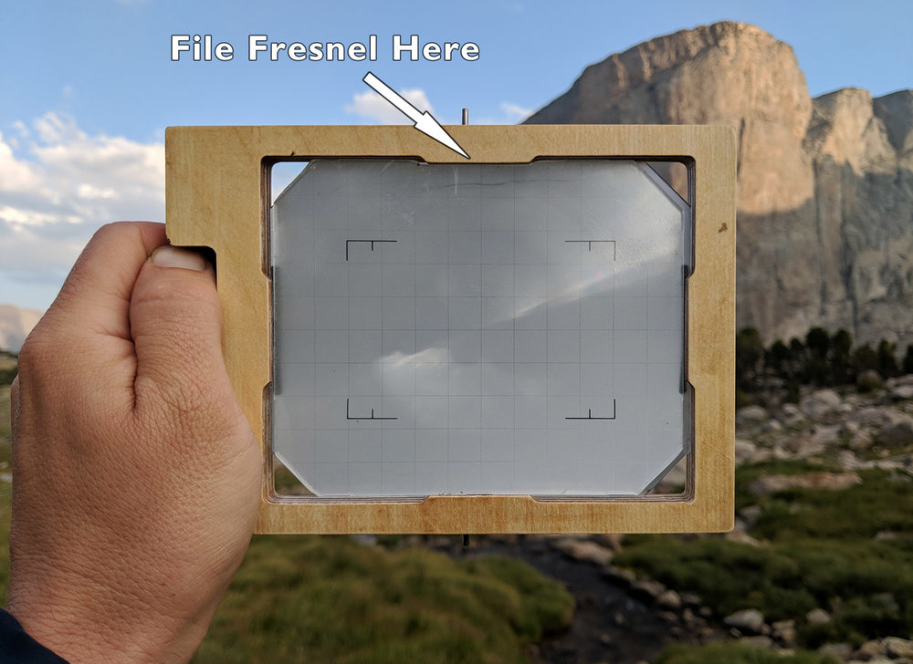 The ground glass frame with a frensel lens installed. Note that I have flipped the frame around and you are looking at the lens side. I put my fresnel on the lens side of the ground glass and did not move the position of the ground glass at all.