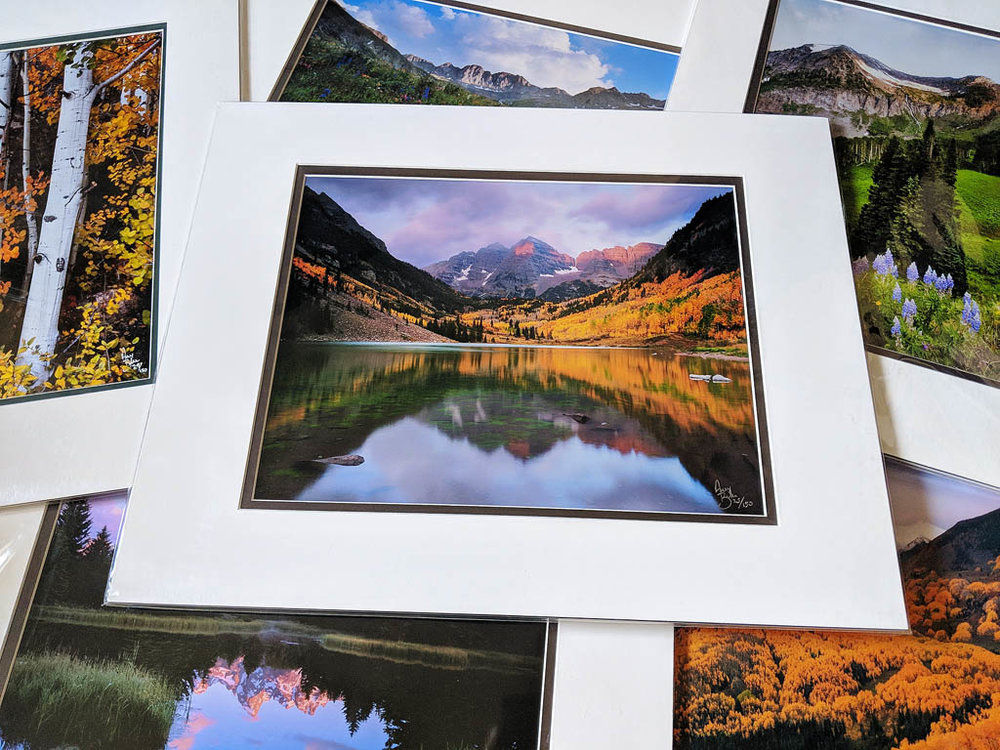 Sample matted prints shown above
