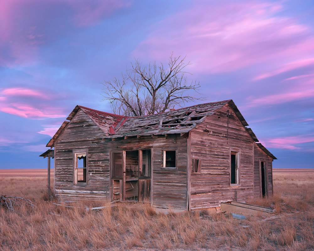 """Homestead Sunrise"" - An abandoned homestead under vibrant sunrise skies of the Great Plains. Prints Available."
