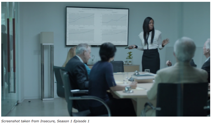 In the first seasons of HBO series  Insecure , actress Yvonne Orji Dishes plays the role of a lawyer who on a daily basis has to deal with the implications of being one of the few women and the only black professional in her firm.