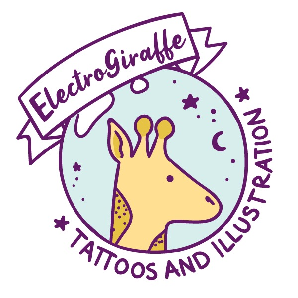 ElectroGiraffe Tattoos and Illustration - A tattoo artist with a passion for cuteness and bruises, Sandy Church offers discounts on products and designs, check out the website today!