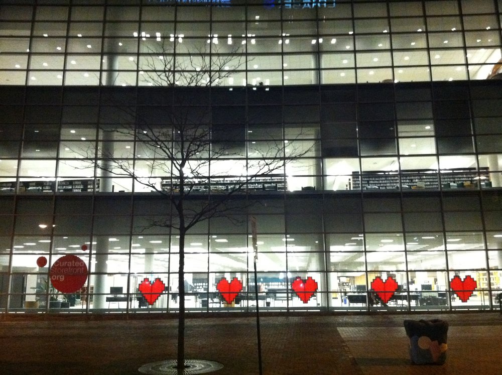 Five interactive heart sculptures by artists Margarita Benitez and Markus Vogl are located on the first floor of the Akron-Summit County Public Library at TechZone@Main.