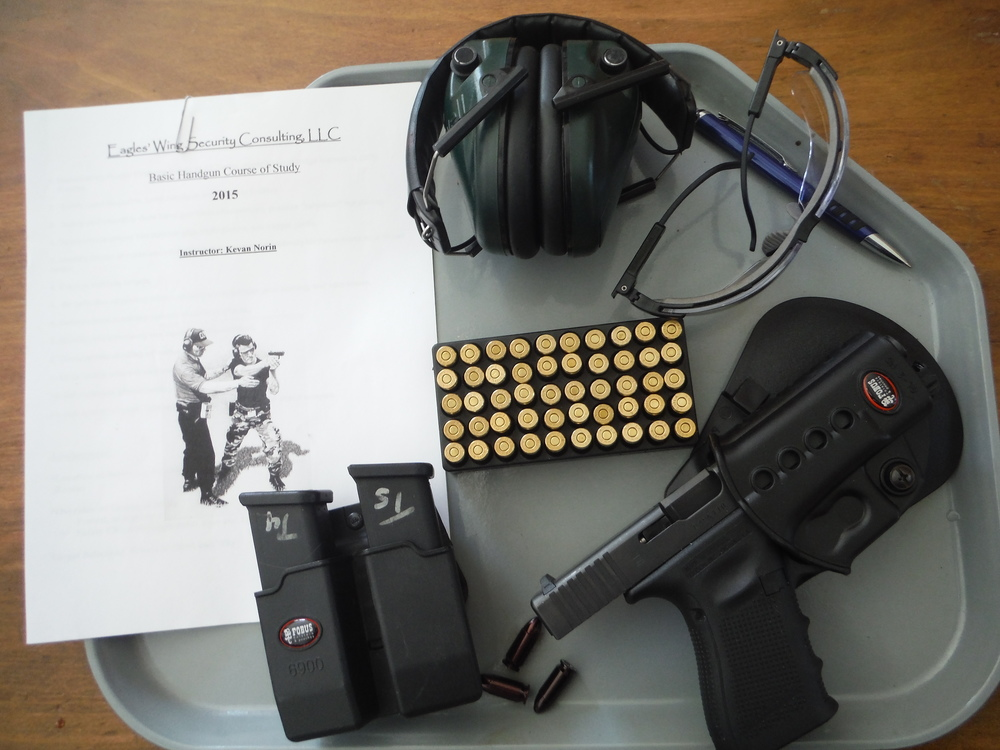 This course, aimed at beginners, consists of the first two hours of the all day Basic Handgun Course.  Basic safety, gun handling, marksmanship and live fire are included.    The course fee is $50, not counting 50 rounds of ammunition. This is available at whatever it cost me, or bring your own..    Maybe you want some training, but haven't yet purchased your own handgun/holster system? I have two kits including the one shown here,  (left handed holsters available)with everything you will need for the class, featuring the Glock 19 9mm pistol.  The cost will be the same, not counting ammo, to the first two people to sign up and request the kit.