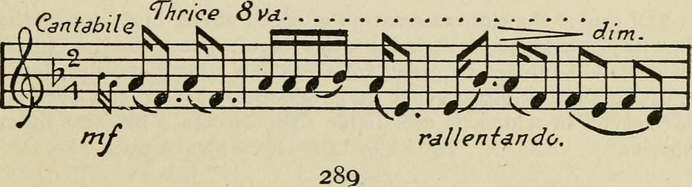 Musical notation of the song of the sparrow