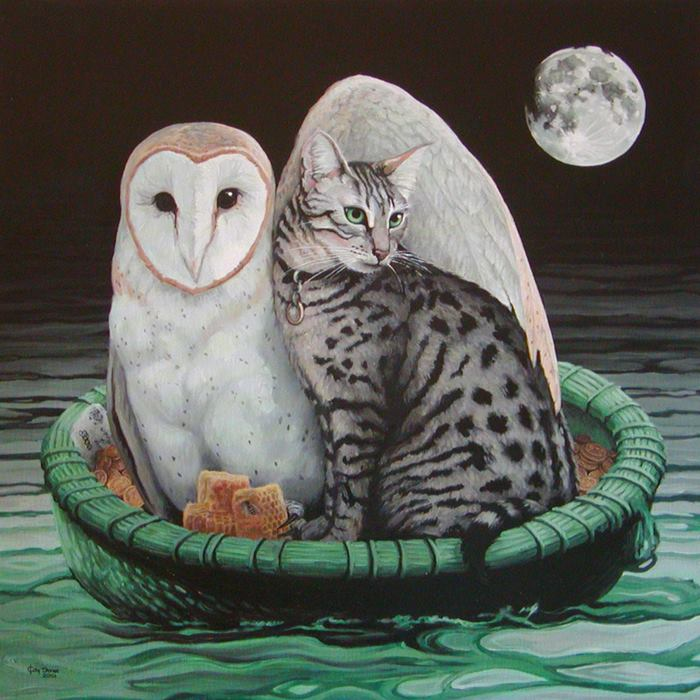 The Owl and the Pussycat, painting by Katherine Jones