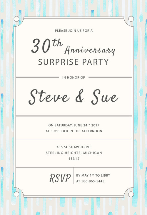 surprise 30th anniversary party invitation