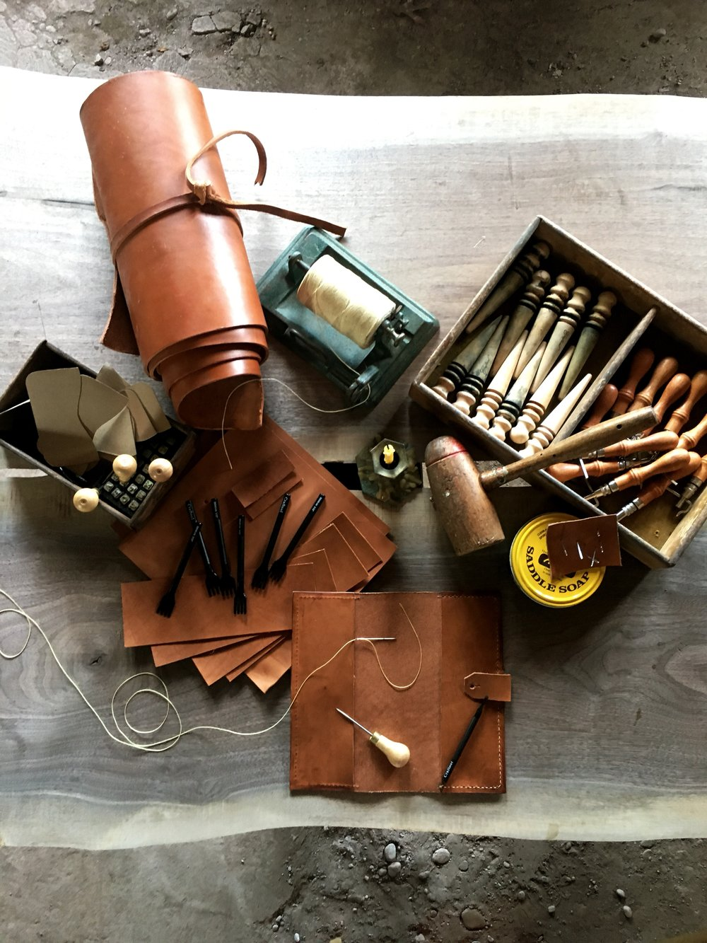Get your Hand Leather Smithing tool kit ! - Wrapped in a hand stitched leather pouch, our kit includes the professional tools set you need, listed bellow - $150Wood slicker / Stitching groover / 4 prong chisel punch / 1 prong chisel punch / Scratch awl / Mallet / Poundo board / Adhesive (3oz tin) / Saddle soap (3oz tin) / Waxed thread (black & natural 5' each) / Stitching needle (2) / Sand paper block.